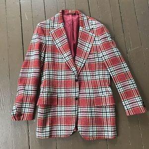 Vintage 70s tweed plaid two button long blazer